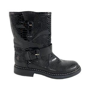 Casadei Patent Leather Croc Embossed Slip On Boots